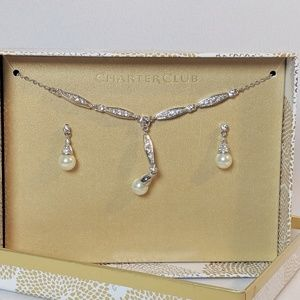 Charter Club Jewelry - Charter Club Pearl Drop Earrings & Necklace Set